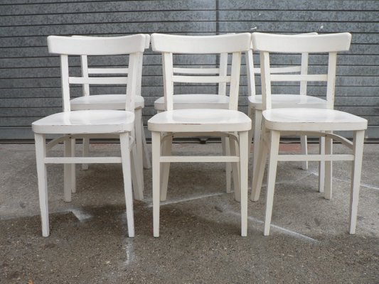 Vintage White Bistro Chairs Set of 6 1 & Vintage White Bistro Chairs Set of 6 for sale at Pamono