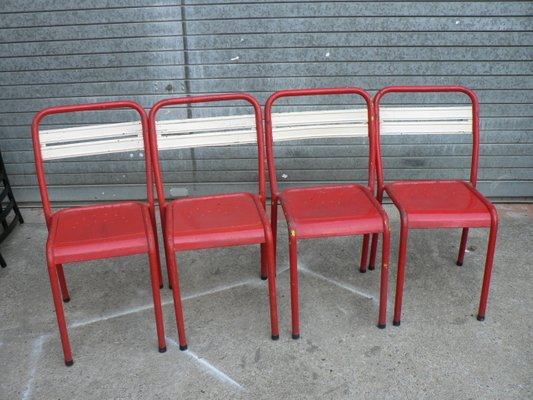 vintage french metal bistro chairs set of 4 for sale at pamono