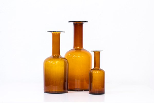 Glass Vases By Otto Brauer For Holmegaard 1950s Set Of 3 For Sale