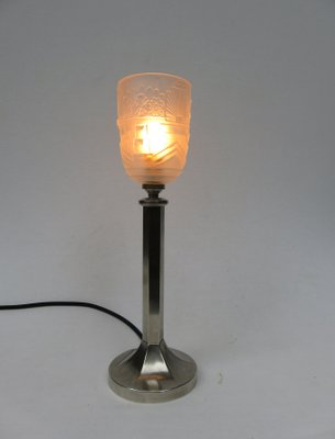Vintage Art Deco Nickel Plated Frosted Gl Table Lamp 18