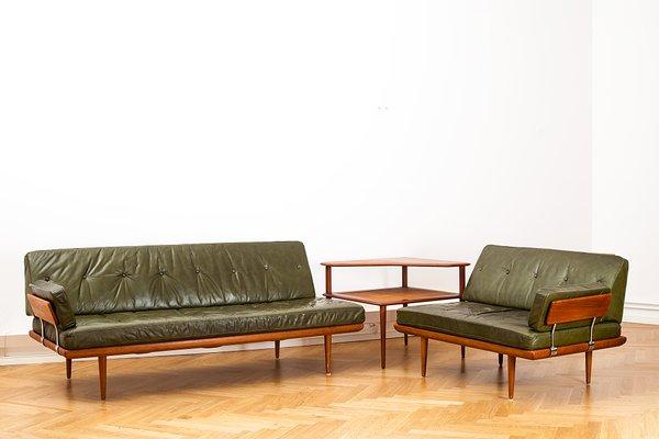 Dänisches Mid Century Minerva Leder Wohnzimmer Set Von Peter Hvidt U0026 Orla  Mølgaard Nielsen