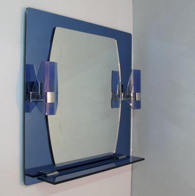 Specchio con mensola ed applique, anni \'70 in vendita su Pamono