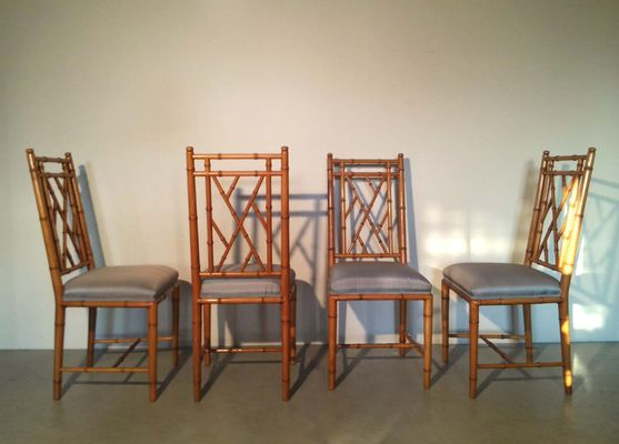 Faux Bamboo Chairs, 1970s, Set Of 4 2