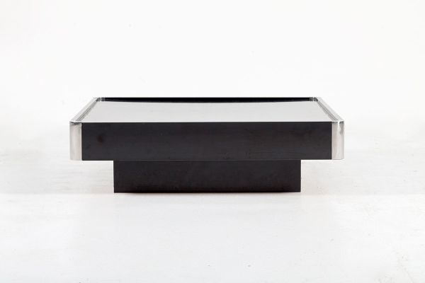 Black Lacquered Coffee Table With Chromed Corners By Willy Rizzo For Sabot,  1970s 1