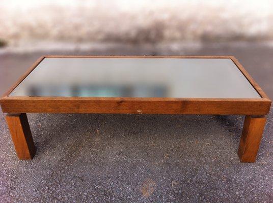 Credenza De Madera Con Espejo : Mesa de centro vintage madera con tablero espejo negro en