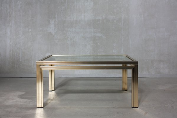 Gold Square Coffee Table By Pierre Vandel 1970s