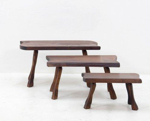 tables gigognes vintage en bloc de tronc darbre 1 - Table Gigogne Vintage