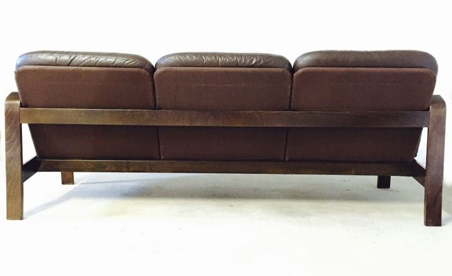 Dark Brown Leatherette Sofa 1970s For Sale At Pamono
