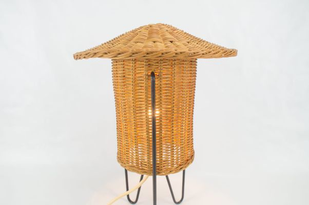 Austrian rattan table lamp 1950s for sale at pamono austrian rattan table lamp 1950s 5 aloadofball Images