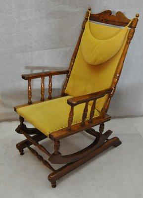 Scandinavian Vintage Wooden Rocking Chair 1950s 1