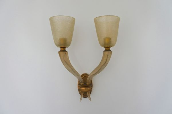 Lampade In Vetro Soffiato : Lampada da parete grande in vetro soffiato ed ottone di seguso