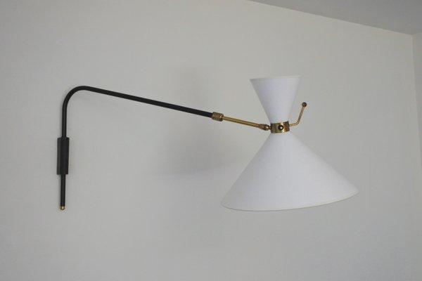 Wandlampe aus Messing & Lackiertem Metall mit Schwenkarm von Arlus, 1950er