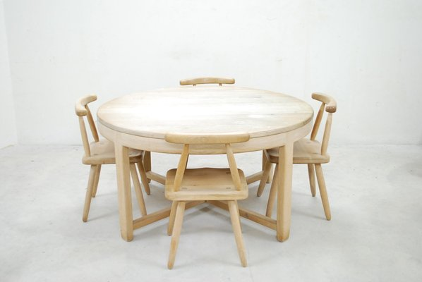 MidCentury Arts Crafts Oak Dining Table And Chairs For Sale At - Mid century oak dining table