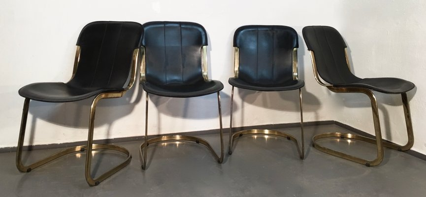 Pamono & Brass and Black Leather Dining Chairs by Willy Rizzo for Cidue 1970s Set of 4