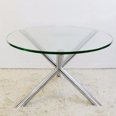 Tavoli Da Pranzo Rotondi In Vetro.Tavolo Da Pranzo Rotondo In Vetro E Metallo Cromato Anni 70 In
