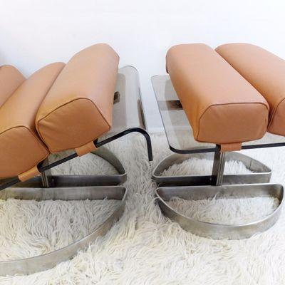 Ottomane Chaise Plexiglas Brossé1980sSet Et En 2 De Acier Ownk8P0