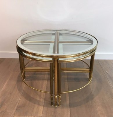 Round Brass Coffee Table 4 Nesting Tables 1960s