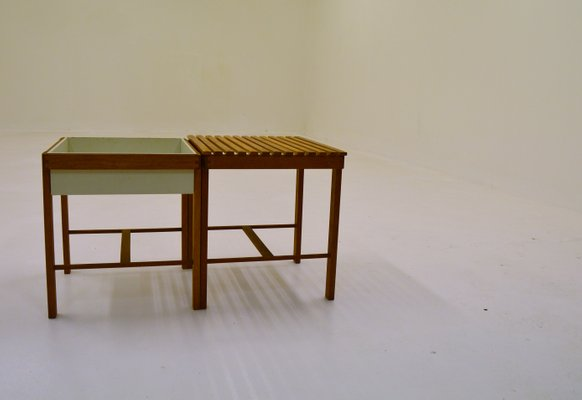 Oak Side Table And Planter, 1950s 1
