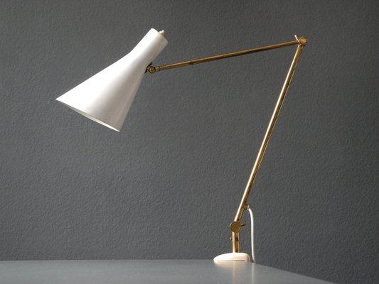 Lampada a morsetto mid century moderna in ottone con paralume