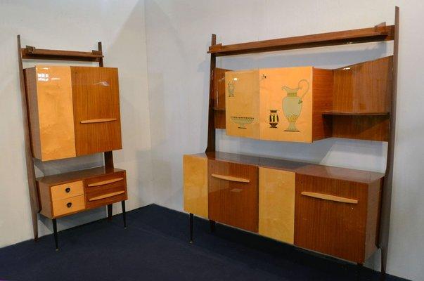 Mobili da salotto con scomparto bar in legno bicolore, anni \'50, set ...