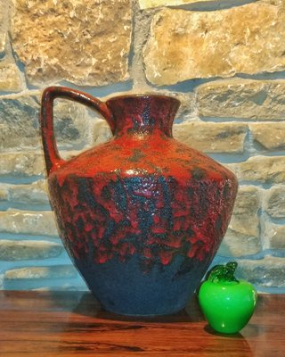 914804b4505e Vintage 401-40 Floor Vase with a Black   Red Volcanic Glaze by Heinz Martin