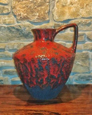 Vintage 401 40 Floor Vase With A Black Red Volcanic Glaze By Heinz