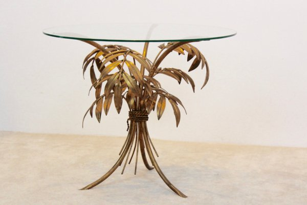 Hollywood Regency Gilt Palm Tree Coffee Table From Hans Kögl 1970s 5
