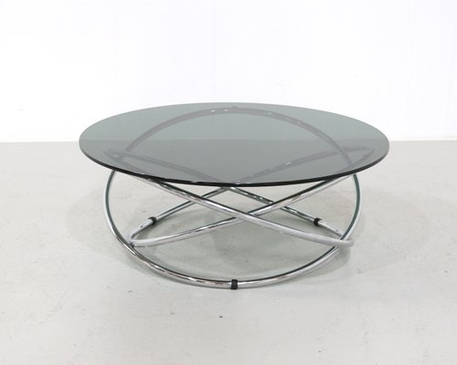 Italian Chrome Smoked Glass Coffee Table 1960s For Sale At Pamono