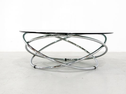 Italian Glass Coffee Table.Italian Chrome Smoked Glass Coffee Table 1960s