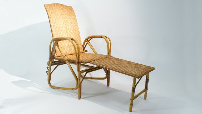 Adjustable Rattan And Bamboo Lounge Chair, 1940s 1