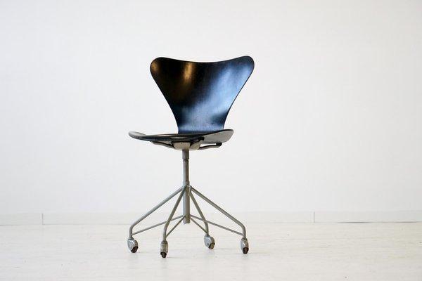 Chaise De Bureau 3117 07 Par Arne Jacobsen Pour Fritz Hansen 1950s