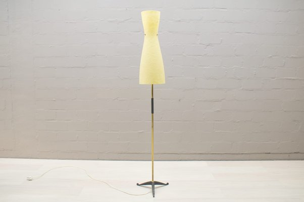 cf2e6fae05fc4 Mid-Century Floor Lamp with Hourglass Shaped Fiberglass Shade