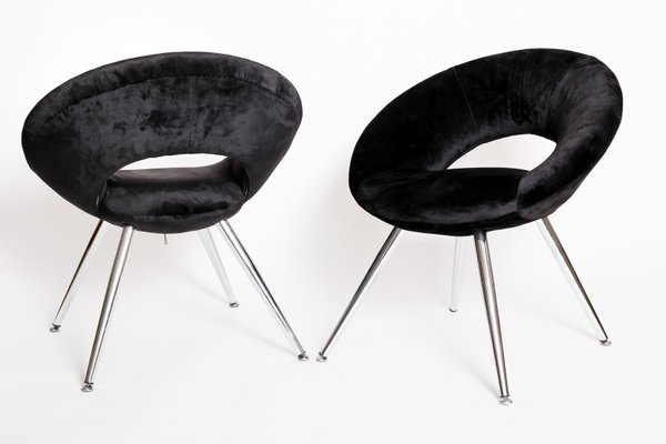 Space Age Black Velvet Chairs, 1960s, Set Of 2 9
