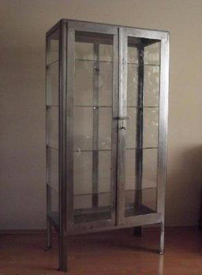 Vintage Polish Steel Medical Cabinet 1920s 1