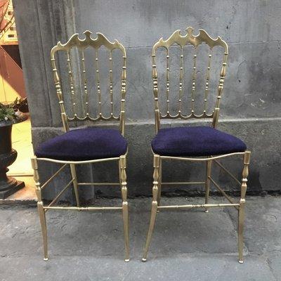 Chiavarine Brass Chairs, 1950s, Set Of 2 1