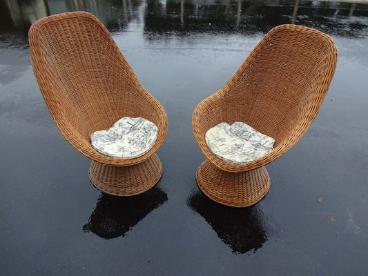 high back wicker chairs 1960s set of 2 for sale at pamono