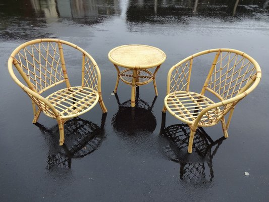 Tavolo E Sedie Rattan.French Rattan Chair Table Set 1970s Set Of 3 For Sale At Pamono