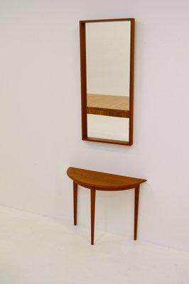 Teakholz tisch glas  Halbmond Teak Tisch und Spiegel von Glas & Trä, 1960er bei Pamono kaufen