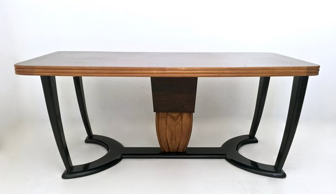 Mahogany And Ebonized Wood Dining Table With Black Opaline Glass Top 1940s