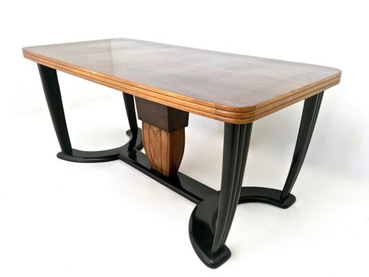 ccd0c61a85aa Mahogany and Ebonized Wood Dining Table with Black Opaline Glass Top ...
