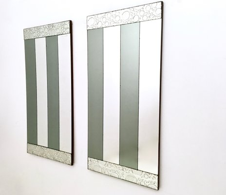 Striped Rectangular Wall Mirrors 1970s Set Of 2