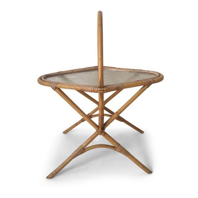 Small Vintage Rattan And Glass Side Table, 1960s 1