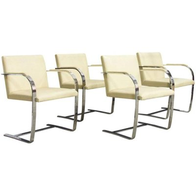 Vintage Brno Chairs In Cream Leather By Ludwig Mies Van Der Rohe For