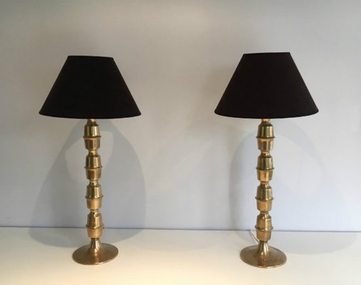 Mid Century Tall Br Table Lamps 1960s Set Of 2