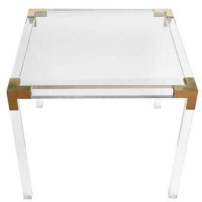 Vintage Lucite And Brass Side Table 1