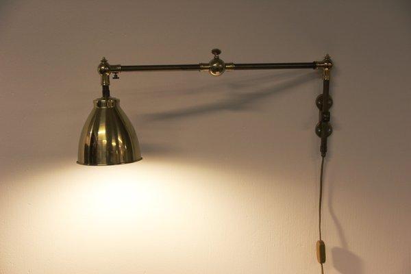 Lampada da parete vintage in ottone e ferro in vendita su pamono