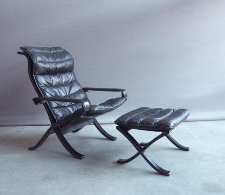 fauteuil relax pliant vintage acec ottomane par ingmar relling pour westnofa 2 - Fauteuil Pliant Relax