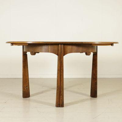 Merveilleux Italian Vintage Round Table In Oak Veneer, 1950s 3