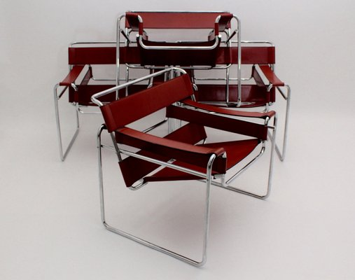 Model B3 Wassily Chairs By Marcel Breuer For Fasem, 1976, Set Of 4 3