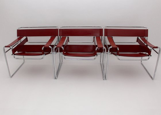 Marcel Breuer Stoel : Model b wassily chairs by marcel breuer for fasem set of